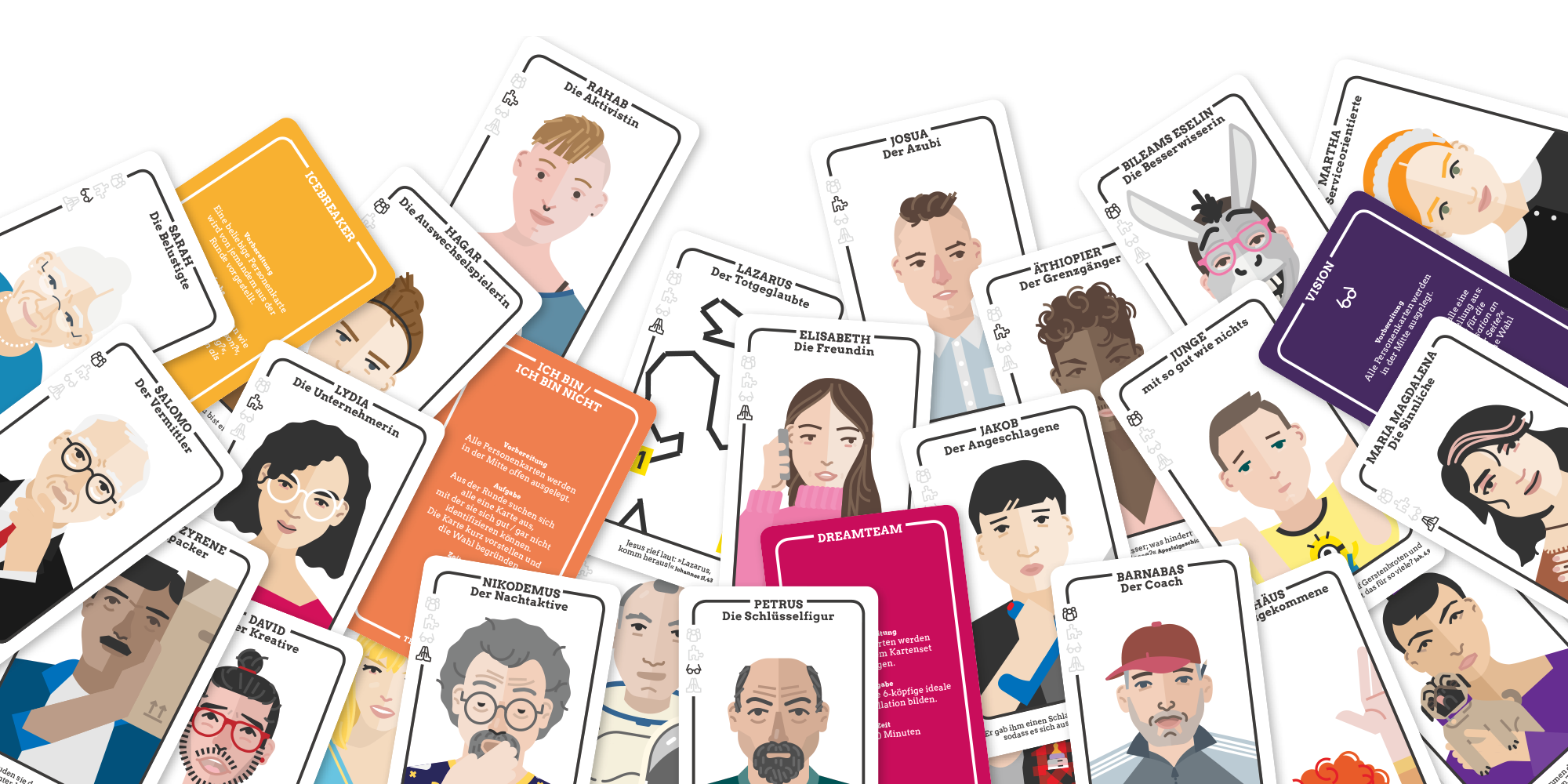 Team Unser, godnews, Teamentwicklung, Kartenset, Übersicht, Teaminspiration, biblische Charakterköpfe, Toolbox, Vertiefung