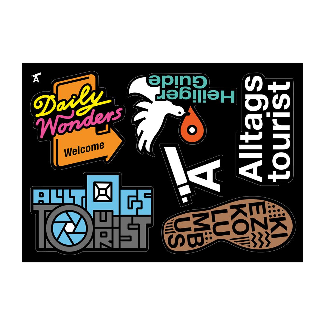 Sticker, godnews, Alltagstourist, daily wonders, kiezkolumbus, heiliger guide