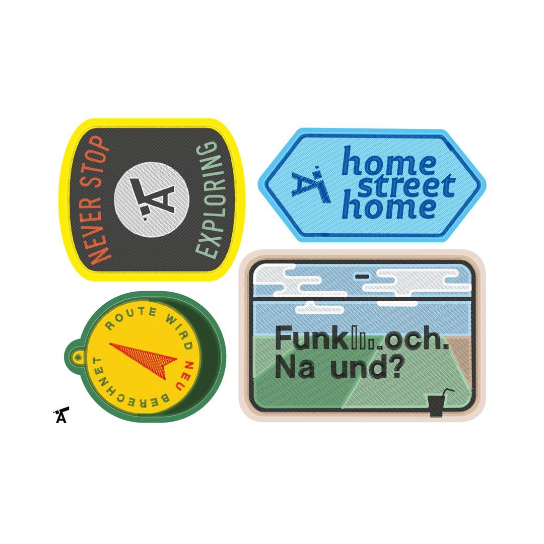 Sticker, godnews, Alltagstourist, home street home, route wird neu berechnet, Funkloch, Never Stop Exploring